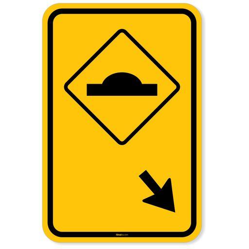 Placa-Advertencia---Lombada-a-Direita